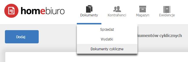 eKsięgowość - Dokumenty - Wybierz opcję Dokumenty cykliczne