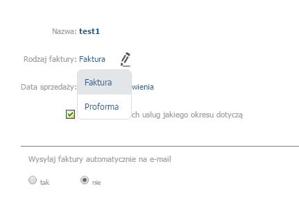 eKsięgowość - Dokumenty - Dokumenty cykliczne - Dodaj - Klikając w pole Rodzaj faktury, pojawią się dodatkowe opcje wyboru lub wprowadzania tekstu