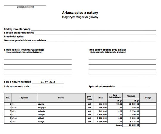 eKsięgowość - Przykładowy dokument PDF wyceny stanów magazynowych - Arkusz spisu z natury