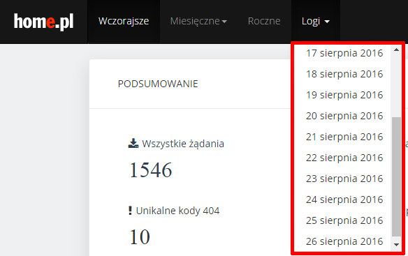 Statystyki serwera home.pl - Sprawdź pliki logów serwera HTTP w opcji menu Logi