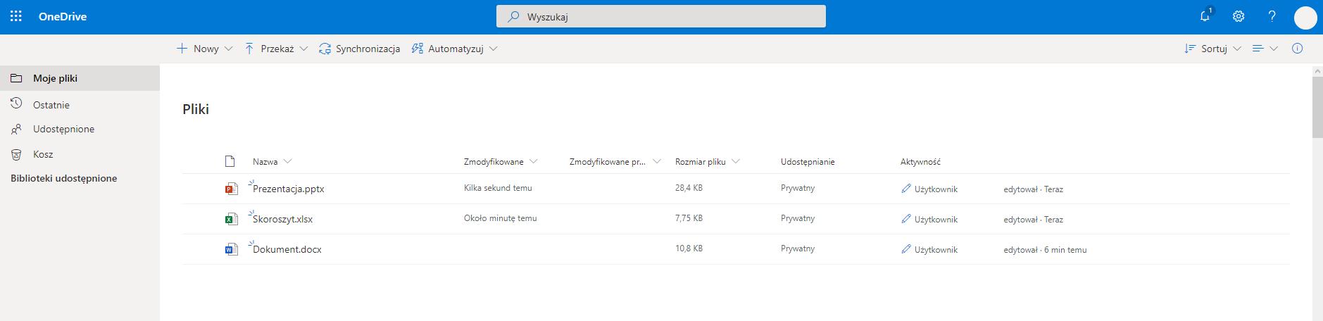 Podstawowe informacje o obsłudze usługi OneDrive