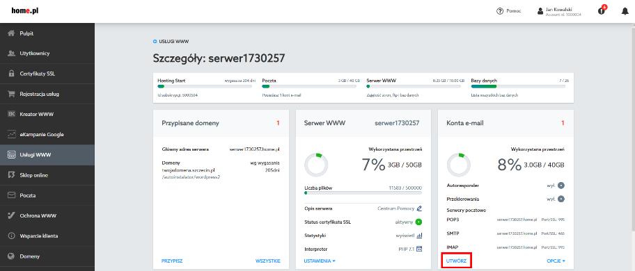 Jak utworzyć skrzynkę email, która ma działać wyłącznie po stronie home.pl?