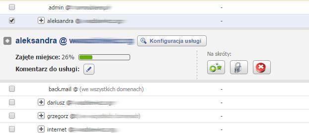 Panel klienta - Usługi - Wybrana skrzynka email - Kliknij przycisk Konfiguracja usługi