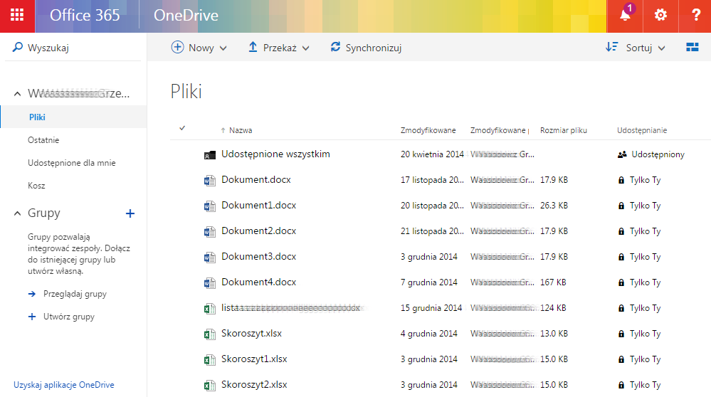 Panel Office 365 - OneDrive - Przykładowy widok ekranu głównego