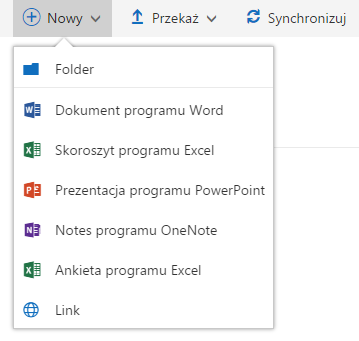 Panel Office 365 - OneDrive - Kliknij przycisk Nowy, aby dodawać nowy folder lub dokument pakietu Office 365