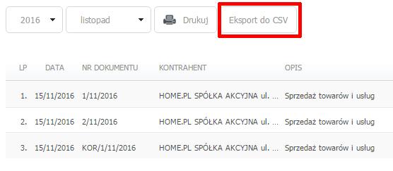 eKsięgowość - Ewidencje - Rejestr sprzedaży VAT - Kliknij przycisk Eksport do CSV