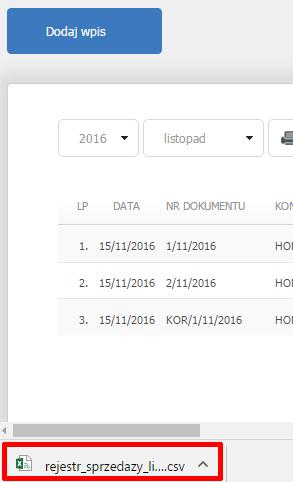 eKsięgowość - Ewidencje - Rejestr sprzedaży VAT - Eksport do CSV - Plik CSV został pobrany na dysk komputera, odnajdź go w domyślnym katalogu pobierania