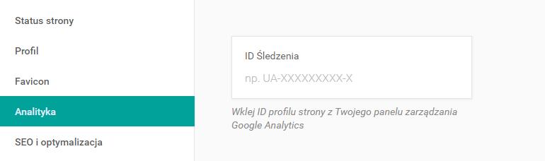 Kod śledzenia Google na stronie WWW kreatora.