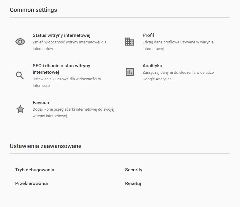 Zbiór funkcji kreatora WWW - Menu Ustawienia witryny