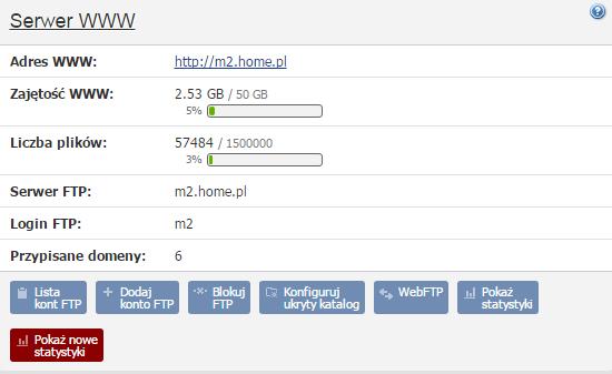 Panel klienta - Usługi - Konfiguracja usługi - Statystyki - Przejdź do sekcji Serwer WWW