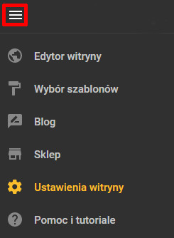 Sekcja Status strony – ustawienia adresu strony WWW i jej dostępności w sieci