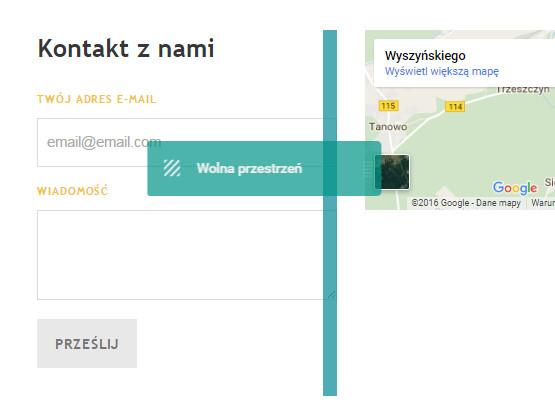 Kreator Click Web - Dodaj element - Moduł Wolna przestrzeń - Dodaj wybrany moduł pomiędzy innymi modułami w układzie poziomym