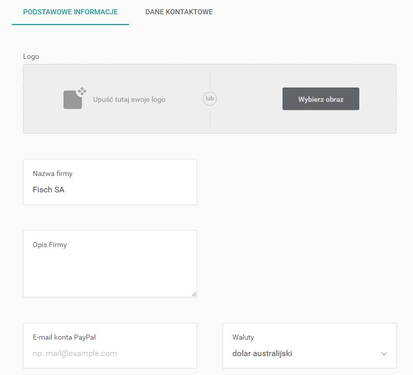 Ustawienia profilu konta w kreatorze WWW