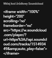 Kreator Click Web - Moduł SoundCloud - Konfiguracja - Wklej skopiowany kod źródłowy SoundCloud