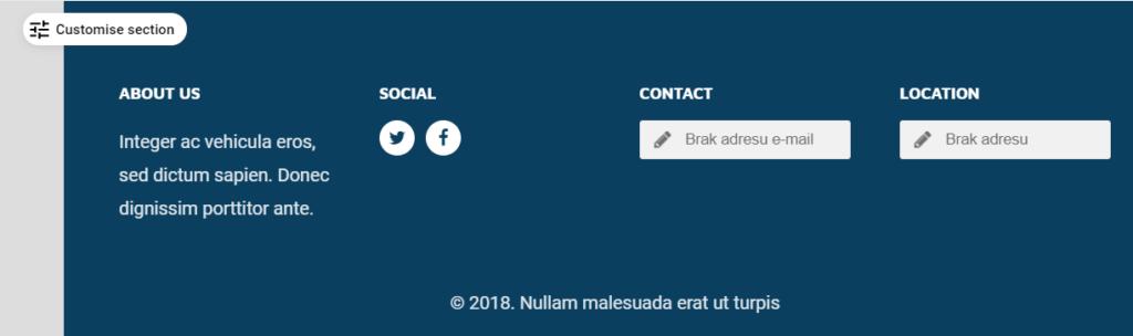 Edycja ustawień stopki strony WWW