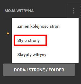 Kreator Click Web - Moja witryna - Edytuj - Wybierz ustawienia Style strony