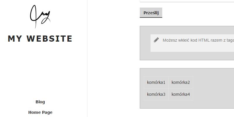 Kreator Click Web - Przykładowy widok szablonu strony WWW po wstawieniu i zapisaniu modułu Wstaw kod