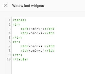 Kreator Click Web - Dodaj element - Moduł Wstaw kod - Edytuj kod - Wstaw kod widgetu - Uzupełnij moduł danymi