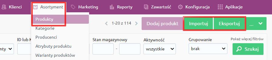 eSklep - Asortyment - Produkty - Kliknij przycisk Importuj lub Eksportuj