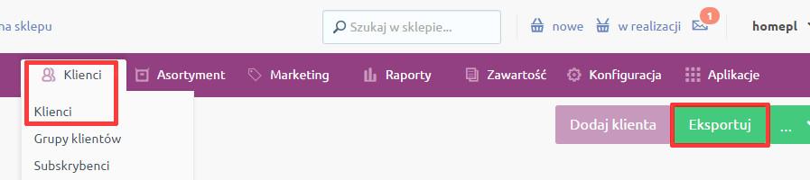 eSklep - Klienci - Klienci - Kliknij przycisk Eksportuj