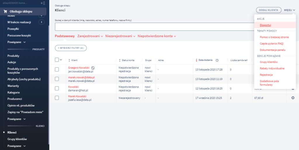 Eksport klientów eSklep do pliku .csv