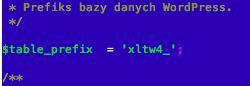 wp-config.php - Prefiks bazy danych WordPress - Zaktualizuj prefix na xltw4_