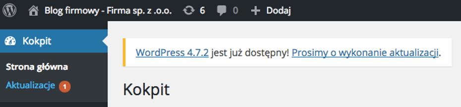 WordPress - Kokpit - Aktualizacje - Wykonaj aktualizacje