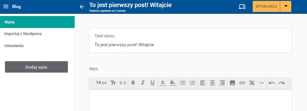 Publikowanie pierwszego wpisu na blogu.