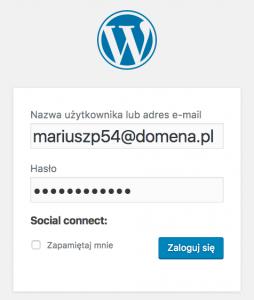 WordPress - Okno logowania - Zaloguj się do serwisu używając adresu e-mail
