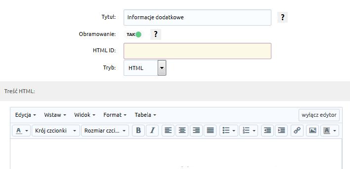 eSklep - Konfiguracja - Wygląd - Aktywny styl graficzny - Moduły - Dodaj moduł - Formularz - Uzupełnij parametry modułu