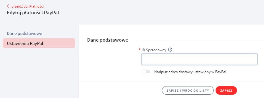 Kliknij w ustawienia PayPal i wprowadź ID sprzedawcy