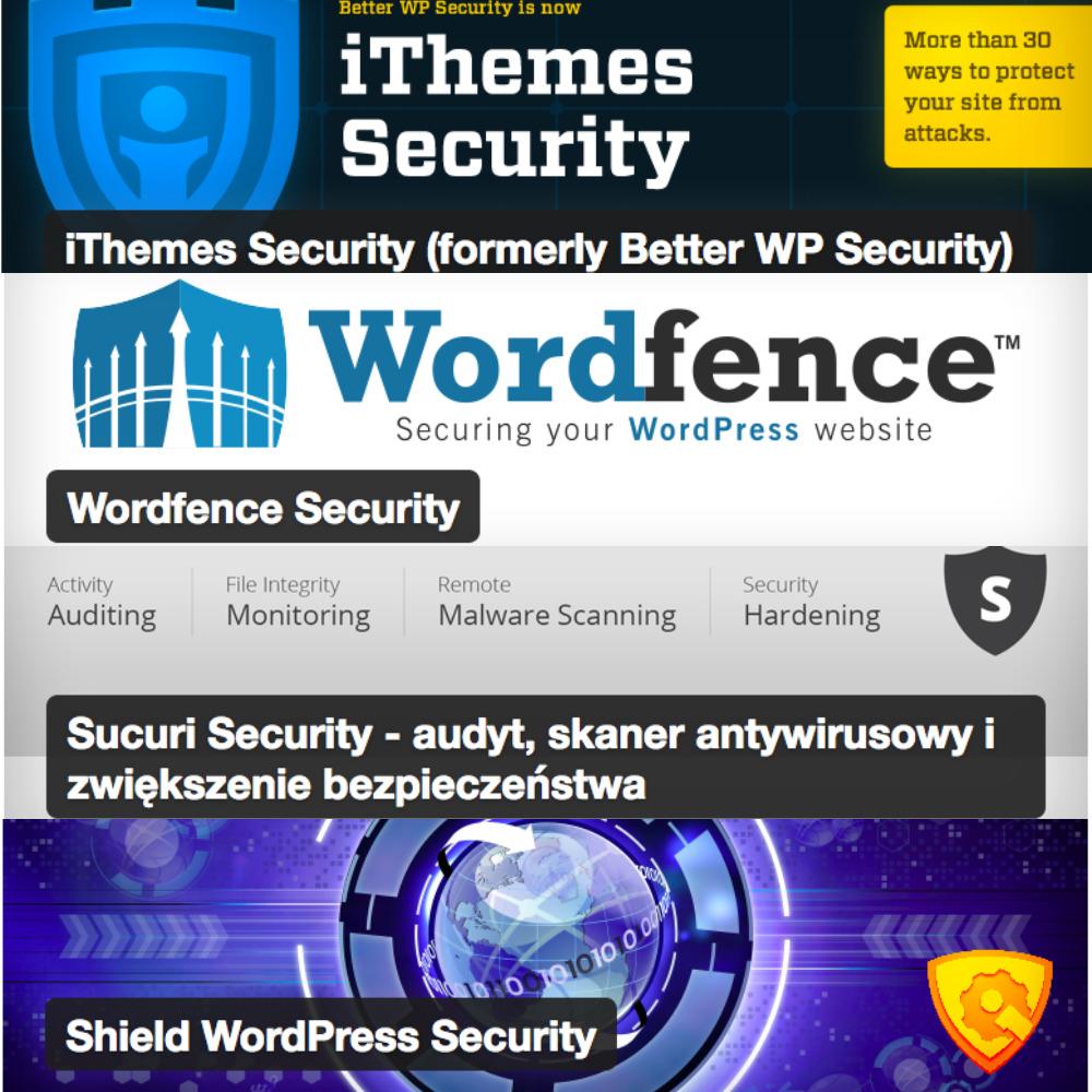Reklama wtyczek - Securing your WordPress website - Wordfence Security - iThemes Security - Sucuri Security - Shield WordPress Security