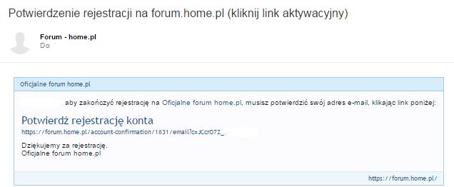 Wiadomość e-mail - Potwierdzenie rejestracji na forum.home.pl - Kliknij w link aktywacyjny