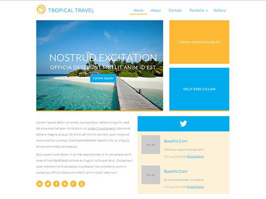 Szablon graficzny dostępny w pakiecie Click Web Unlimited - Tropical Travel