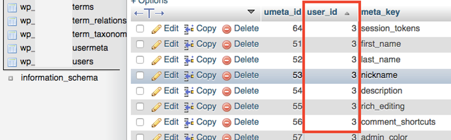 phpMyAdmin - Baza danych - Tabela - Kolumna - user_id - Wprowadź nowe zmiany w tabeli