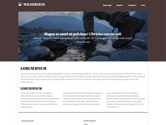 Szablon graficzny dostępny w pakiecie Click Web Unlimited - Wilderness