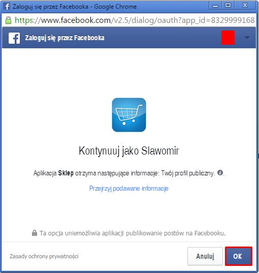 eSklep - Aplikacje - Moje aplikacje - Sklep na Facebooku - Zaloguj się na Facebooka - Wprowadź dane do logowania lub potwierdź chęć przypisania aplikacji do już zalogowanego konta