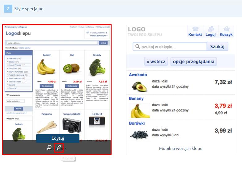 eSklep - Konfiguracja - Wygląd - Galeria stylów - Style specjalne - Kliknij na edycję stylu dla usługi Sklep na facebook