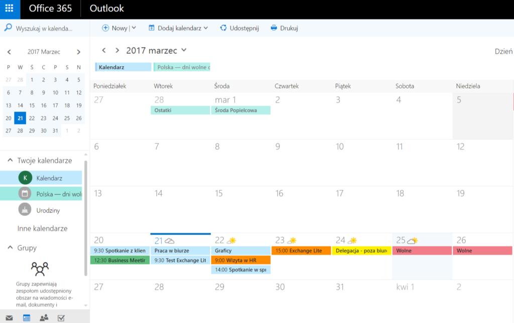 Poczta Exchange Lite - Office 365 Outlook - Funkcja ActiveSync - Przykładowy widok kalendarza