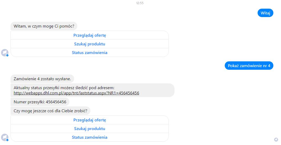 eSklep - Facebook Messenger - Rozmowy automatyczne - Przykładowa komunikacja z automatem