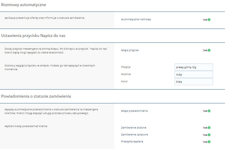 eSklep - Aplikacje - Moje aplikacje - Messenger - Ustawienia - Skonfiguruj aplikację