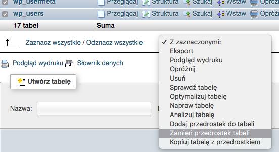 phpMyAdmin - Baza danych - Tabela - Zmień domyślny prefixu wp_ dla tabel w bazie danych
