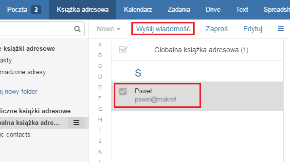 Poczta home.pl - Książka adresowa - Wskaż odbiorców wiadomości zaznaczając ich na liście, a następnie skorzystaj z przycisku tworzenia nowej wiadomości e-mail