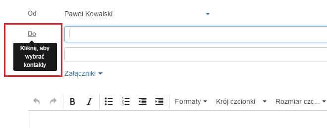 Szybkie wybieranie adresatów wiadomości podczas jej tworzenia/edycji