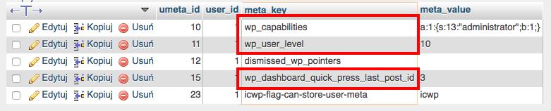 phpMyAdmin - Baza danych - Tabela - Zmień przedrostek tabeli - Lista wierszy - Zastąp stary prefix tabeli wp_ na nowy xltw4_