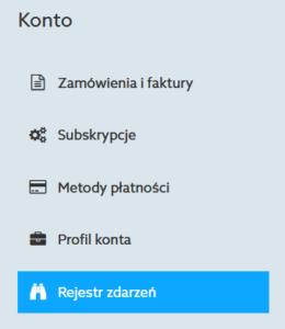 Panel klienta home.pl - Konto - Wybierz opcję menu Rejestr zdarzeń