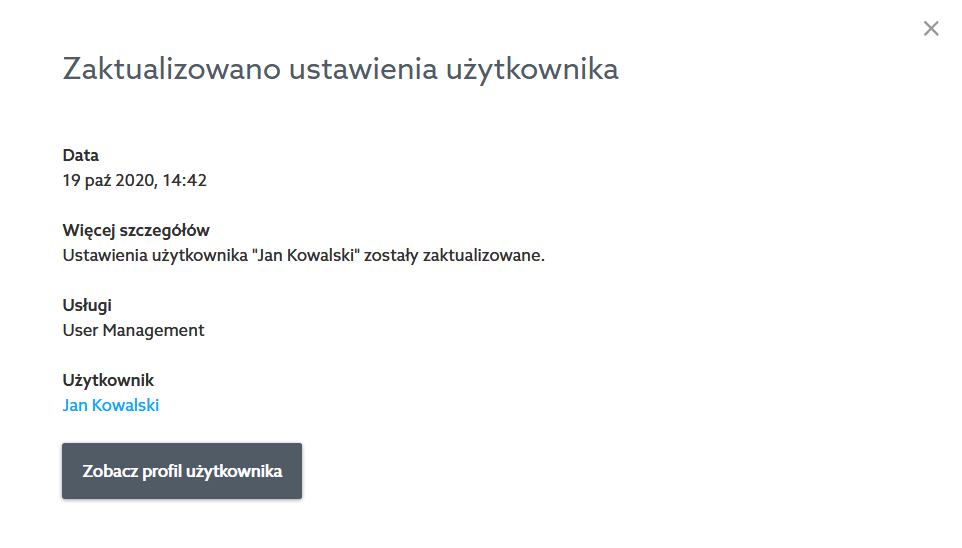 Panel klienta home.pl - Konto - Rejestr zdarzeń - Kliknij w nazwę zdarzenia, aby wyświetlić szczegóły