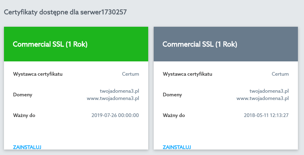 Panel Klienta home.pl - Usługi WWW - Wybrana usługa - Serwer WWW - Ustawienia - Certyfikaty SSL - Przykładowy widok certyfikatu, który został zainstalowany