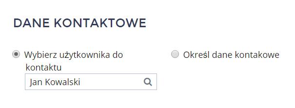 Panel klienta home.pl - Konto - Profil konta - Ustawienia konta - Edytuj - Dane kontaktowe - Wybierz opcję Wybierz użytkownika do kontaktu