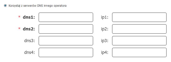 Panel administracyjny operatora - Korzystaj z serwerów DNS innego operatora - Przykładowy wygląd formularza u obecnego operatora, który służy do delegacji domeny